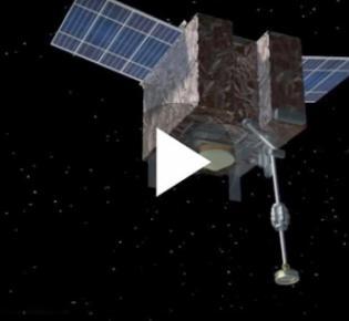 NASA-Raumsonde OSIRIS-REx mit ausgefahrenem Roboterarm