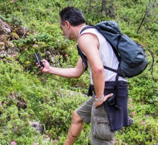 Wanderer mit Smartphone in Waldlandschaft