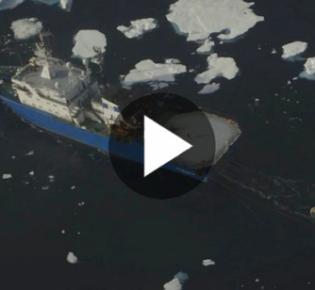 Russisches Erkundungsschiff bei der Ölexploration im Nordmeer