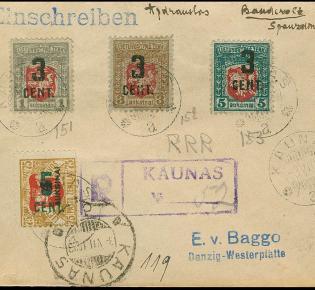 Nach der Einführung der neuen litauischen Währung Litas (unterteilt in Centas) wurden alte Briefmarken mit dem neuen Wert überdruckt.