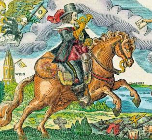 Kolorierter Holzschnitt mit Darstellung eines Postreiters