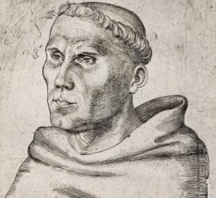 Luther als Augustinermönch, Stich Lucas Cranach des Älteren von 1520
