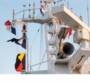 Mast des Kreuzfahrtschiffes Maasdam der Holland America Line.