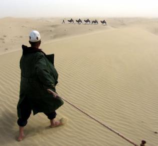 Landschaft der Taklamakan-Wüste nahe Yarkant