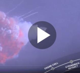 Kontrollierte Explosion einer Falcon-9-Trägerrakete bei einem Testflug
