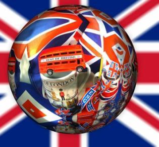 Englische Motive vor Union Jack