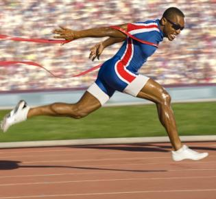 Sprinter beim Zieleinlauf