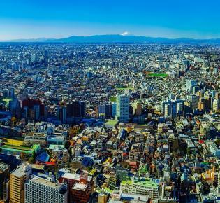 Tokio-Skyline mit Blick den Fuji