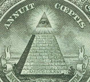 Ausschnitt der Ein-Dollar-Note mit dem Auge der Vorsehung