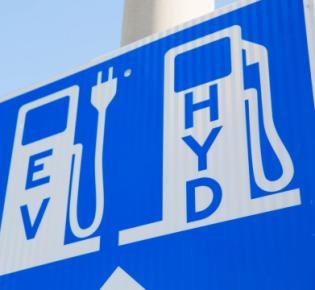 Schild für Elektro- und Wasserstoff-Ladestation