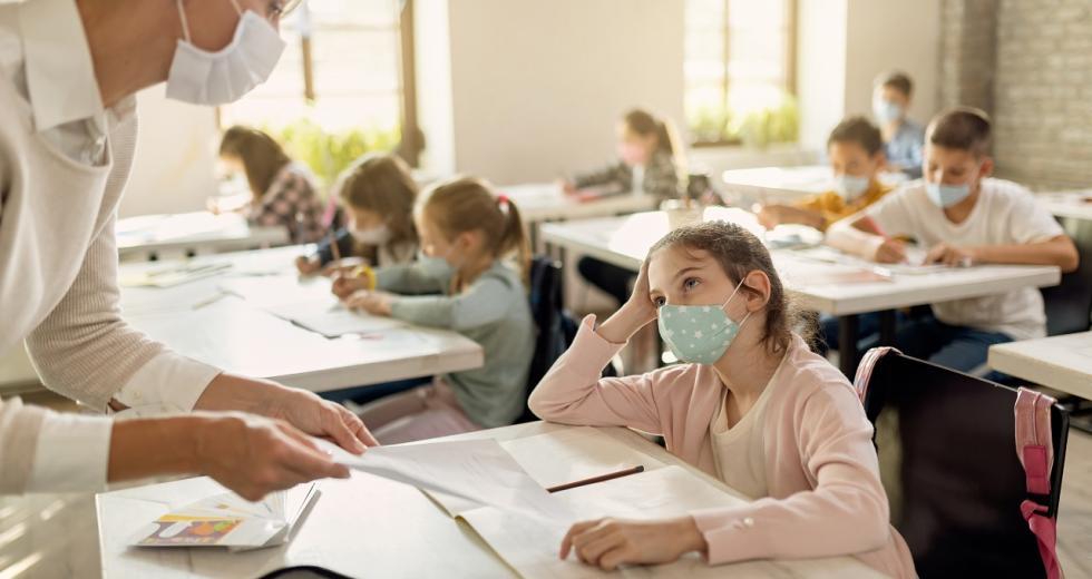 Klassenzimmer während der Corona-Pandmeie