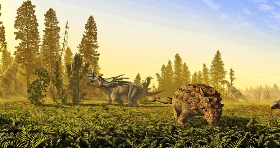 ALndschaft mit Lambeosaurus lambei, Styracosaurus albertensis, Scolosaurus cutleri (formerly sunk in Euoplocephalus tutus), Prosaurolophus maximus, Panoplosaurus mirus