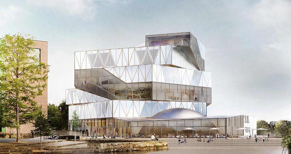 Markante Architektur mit viel Glas – so soll die experimenta nach dem Ausbau aussehen.