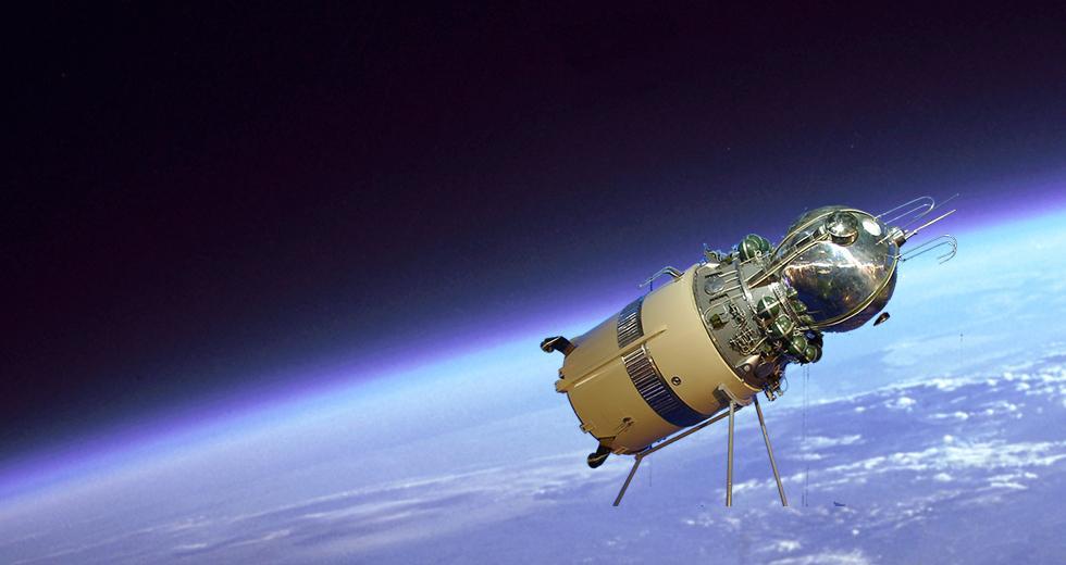Raumschiff Wostok I in der Erdumlaufbahn