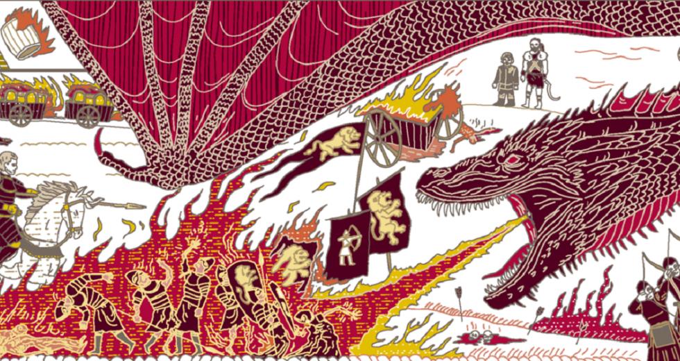 Darstellung der Schlacht auf dem Goldweg auf dem offiziellen Game-of-Thrones-Wandteppich