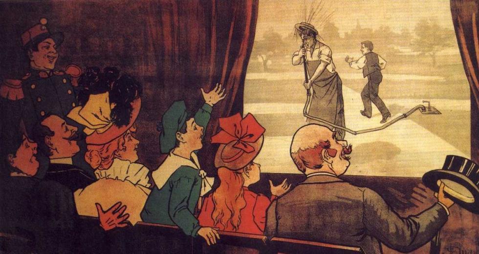 Werbeplakat für den Kurzfilm L'Arroseur Arrosé, 1895