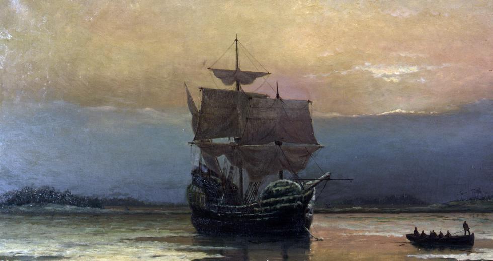 """""""Mayflower in Plymouth"""", von William Halsall (1882)"""