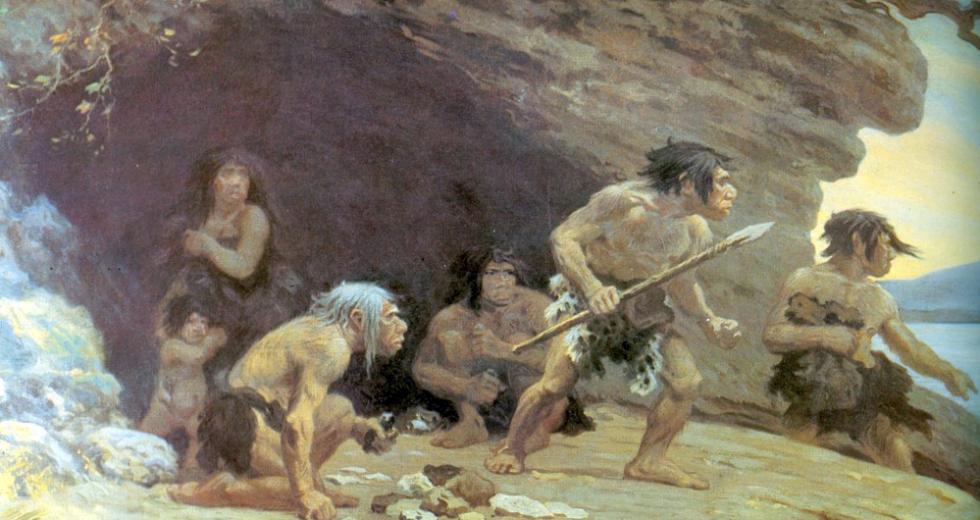 Neandertaler vor der Höhle von Le Moustier