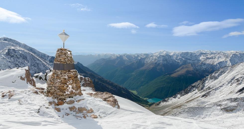 Gedächtnispyramide am Tisenjoch, dem Fundort des Gletschermanns