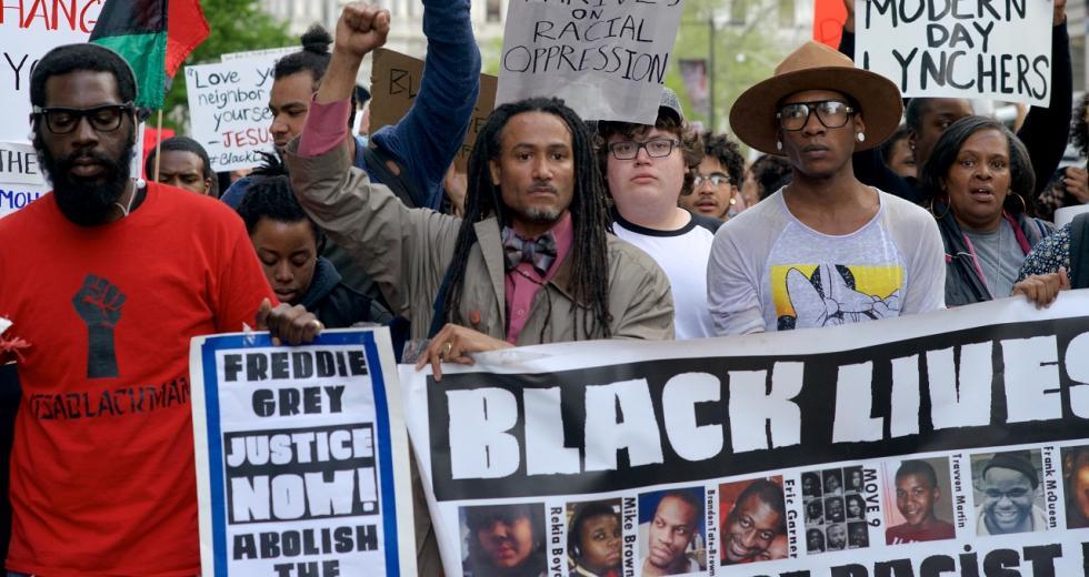 Protestmarsch gegen Polizeigewalt in Philadelphia, Mai 2015