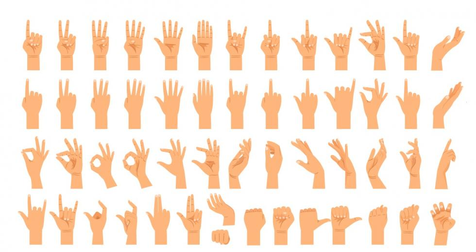 Drei Bildreihen mit verschiedenen Handgesten