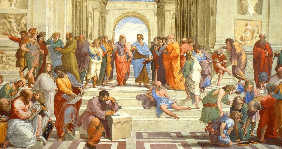 Ausschnitt des Freskos Die Schule von Athen, 1510-11, Raffale