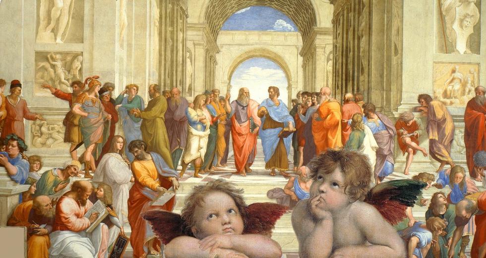 Putten der Sixtinischen Madonna vor dem Hintergrund der Schule von Athen