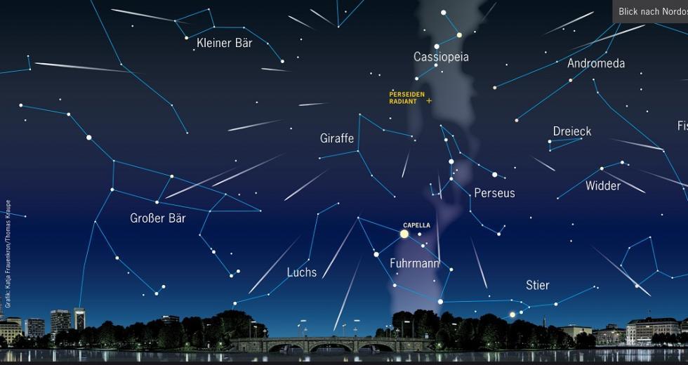 Sternenhimmel über der Binnenalster nach NO am 12.08. gegen 2 Uhr MESZ