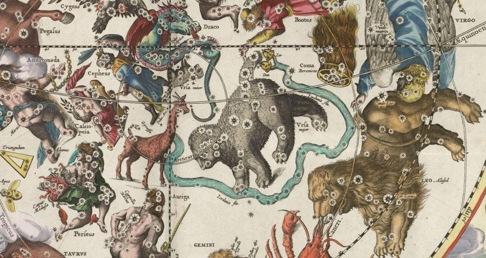 Sternbilder aus dem Himmelsatlas Harmonia Macrocosmica des Andreas Cellarius von 1660