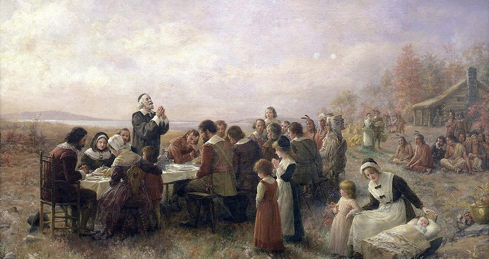 The First Thanksgiving at Plymouth(1914), von Jennie A. Brownscombe