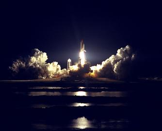 Nachtstart zur Raumstation Mir
