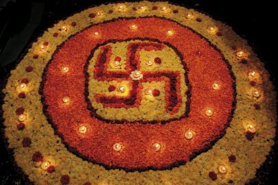 Swastika beim Diwali-Fest in Indien