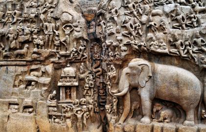 Relief von Mahabalipuram, Indien