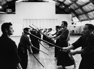 Kendo-Klasse beim Training