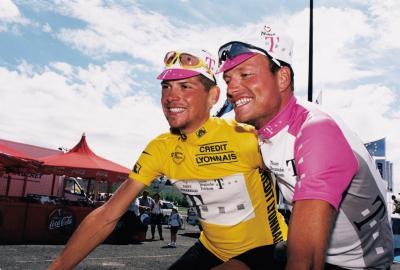 1997 / Tour de France / Jan Ullrich im Gelben Trikot und Bjarne Riis