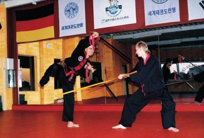 Kung-Fu-Kämpfer an der Sportakademie Lee in Gütersloh