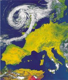 Satellitenfoto mit Blick auf Westeuropa