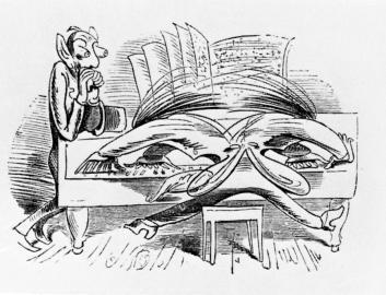"""Karikatur eines Klaviervirtuosen aus """"Ein Neujahrskonzert"""""""