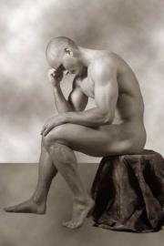 Nackter Mann, denken, der denker