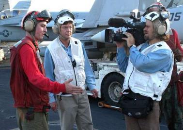 BBC Kamerateam auf der USS Abraham Lincoln
