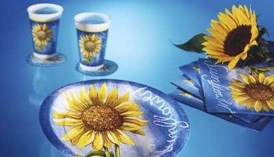 Partygeschirr, Pappteller, Sonnenblumen