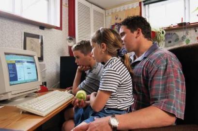 Computer, Monitor, Familie, Vater, Kind, Kinder