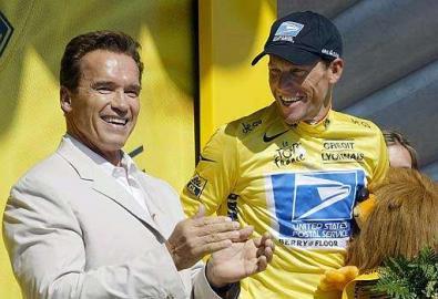 Tour de France 2003, 11. Etappe, Armstrong, Schwarzenegger, Podium, Toulouse