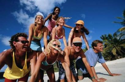 Gruppe, Männer, Frauen, Menschenpyramide, Strand, Freizeit