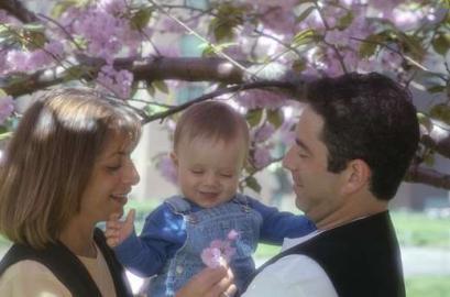 Familie, Eltern, Kleinkind, Blüten