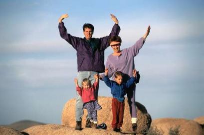 Familie, Freizeit, Wandern, Berg besteigen
