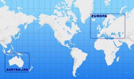 Weltkarte, Kontinente, mit Bezeichnung: Europa, Australien