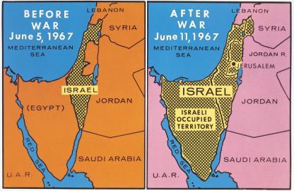Israel vor und nach dem Sechstagekrieg 1967