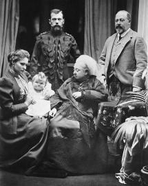 Königin Viktoria mit Sohn Edward und Zar und Zarin
