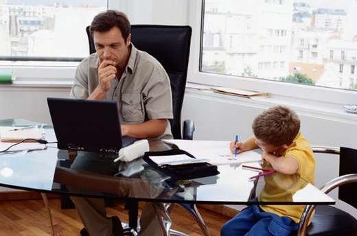 Computer, Büro, Kind, Kinder, Schreibtisch, Vater